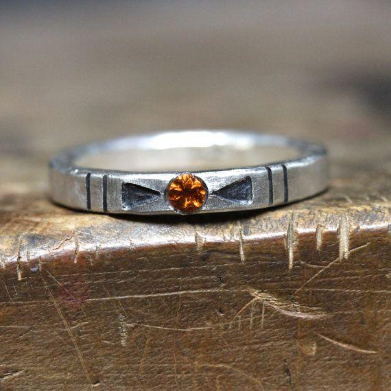 Tribal Orange Citrine Arrow Silver Ring by NangijalaJewelry