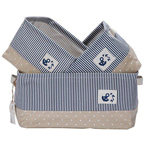 Sea Team Foldable Multi-sized Square New Stripe 100% Natural Linen & Cotton Fabric Storage Bins Storage Baskets Organizers - Set of 3 by Sea Team #Team #Foldable #Multi #sized #Square #Stripe #Natural #Linen #Cotton #Fabric #Storage #Bins #Baskets #Organizers
