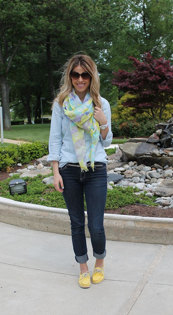 Perfection Possibilities~ chambray, jeans, scarf, sperries