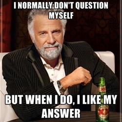 The Most Interesting Man In The World - i normally don't question myself but when i do, I LIKE MY ANSWER