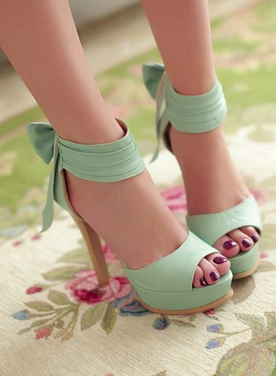 High Heel Ankle Strap Blue Bow Design Sandals