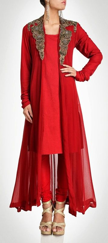 410577: Long sheer #coat worn over #anarkali.What more do a girl needs to turn heads?