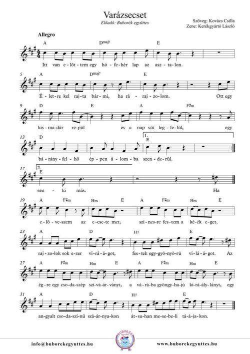 Buborék együttes: Varázsecset gyermekdal - dalszöveg és kotta