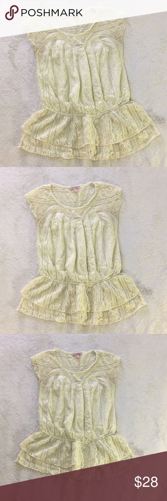 Romeo & Juliet Couture small women's top Lace like with see through at top. Elastic and ruffles at bottom of the shirt  Off white / cream color. Has some shimmer / sparkle. Romeo & Juliet Couture Tops