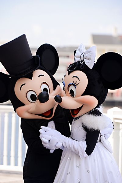 How cute are Mickey Mouse and Minnie Mouse in their Disney wedding reception attire?