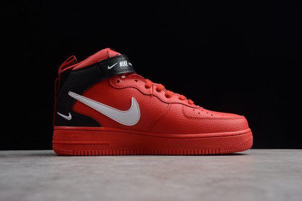 Nike Air Force 1 Mid 07 Overbranding University Red White Black