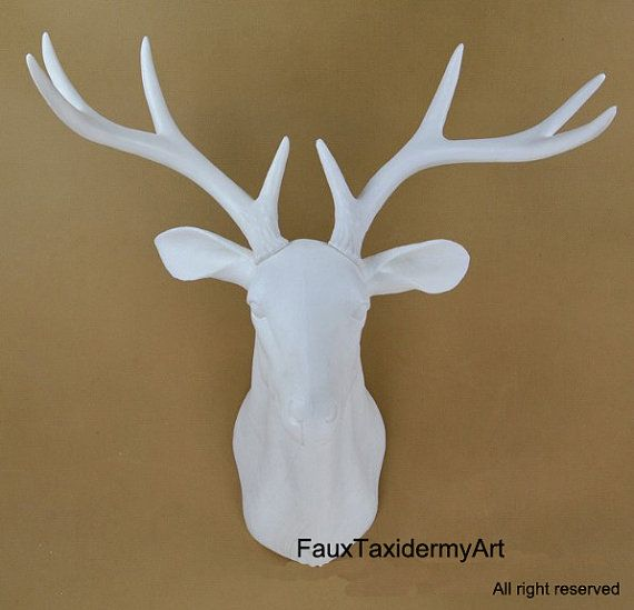 White Faux Deer Head  resin deer head wall by FauxTaxidermyArt, $79.00