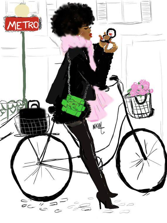Black Girl Ride Bike in Paris par Nikisgroove sur Etsy
