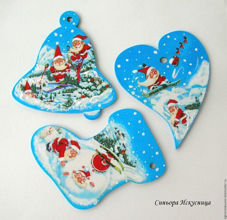 """Купить Деревянные елочные игрушки """"Веселые Деды Морозы"""" - елочные игрушки…"""