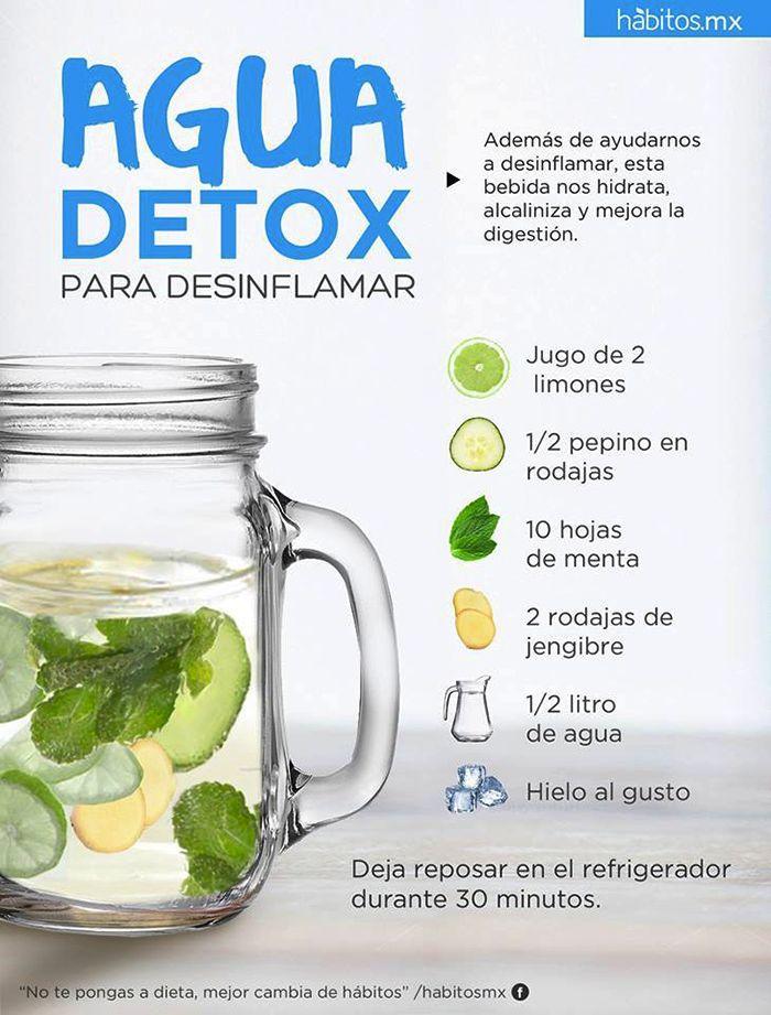 Receta para preparar agua detox. #infografias #detox #salud