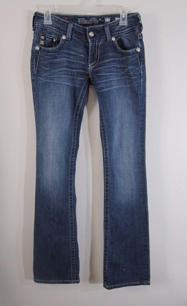 Miss Me Boot Cut Jeans Womens Size 27 Bling Angel Wings Flap Pockets JP5082B13 #MissMe #BootCut