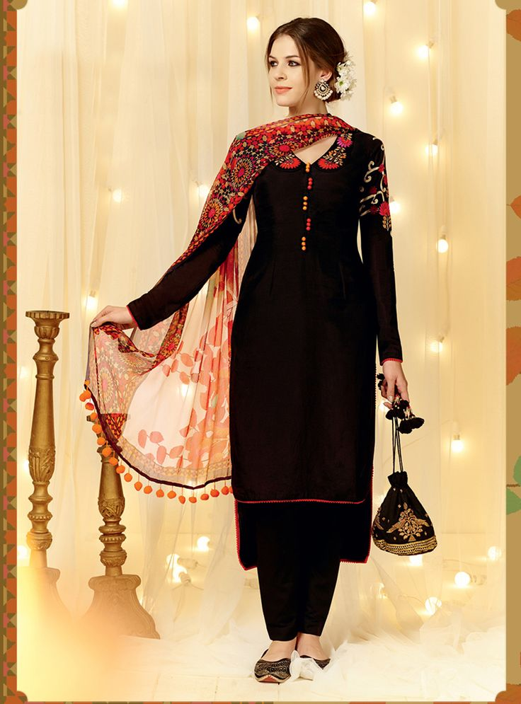 Black Cotton Satin Pakistani Style Suit 66123