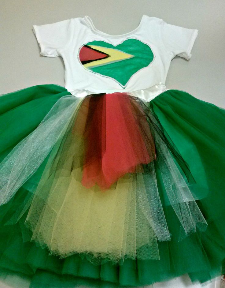 Reserved for Ari, Girls green tutu with Guyana flag colors, matching Guyana flag…