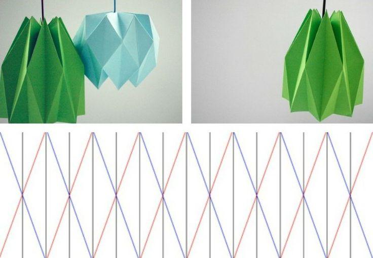 suspensions origami à faire soi-même avec patron de pliage en forme de diamant