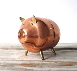 I had this Piggy Bank, when I was little. Charming Copper Piggy