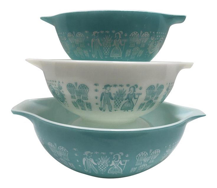 Mid-Century Pyrex Turquoise Mixing Bowls - Set of 3 on Chairish.com