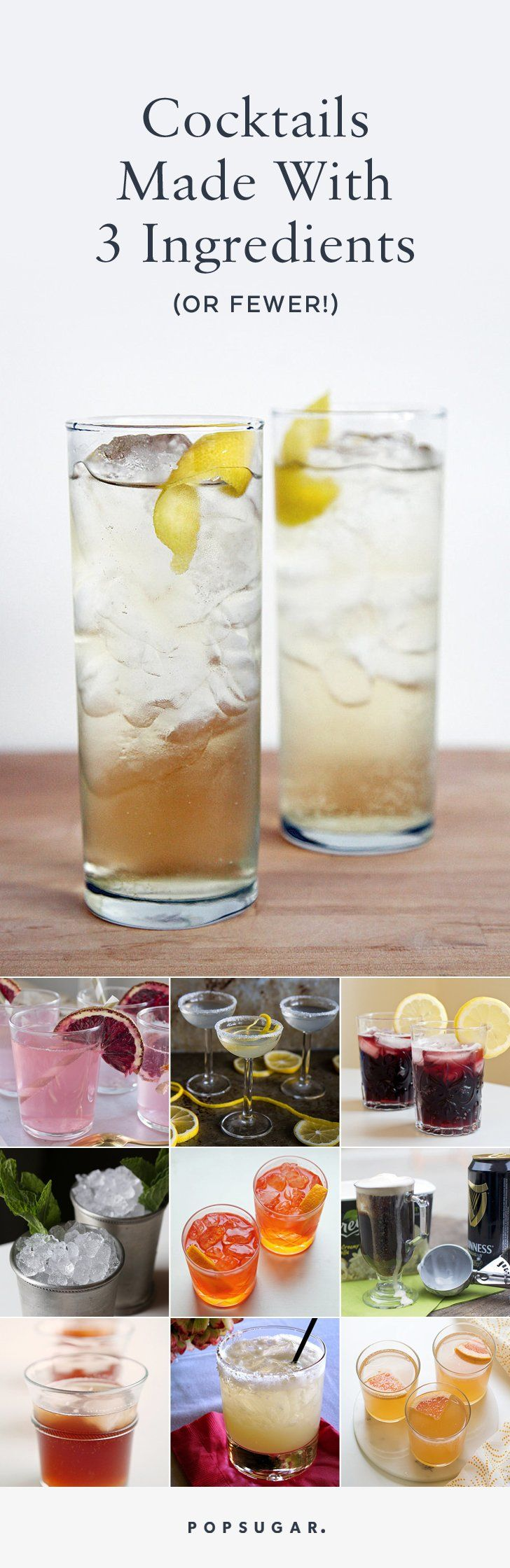 These cocktails that clock in at a mere three ingredients or less! Keep reading for the simplest inspiration to streamline your cocktail hour.