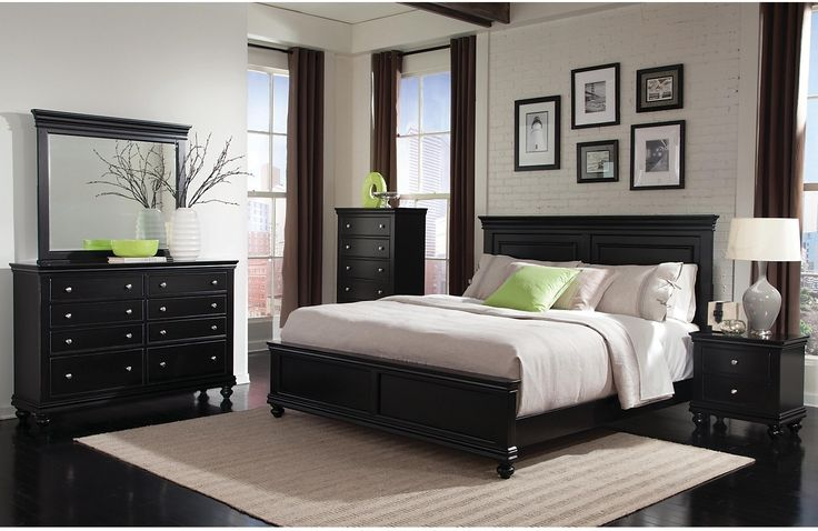 Bridge the gap between classic and contemporary style with this stunning Bridgeport bedroom set. Finished in a striking black hue, this package will match well with existing bedroom décor or help inspire a new look. Round brushed nickel knobs enhance the finish of this beautiful set, which will provide function and fashion in your bedroom for years to come.