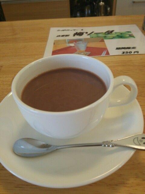 今日は喫茶店でホットミルクココアいただいています。