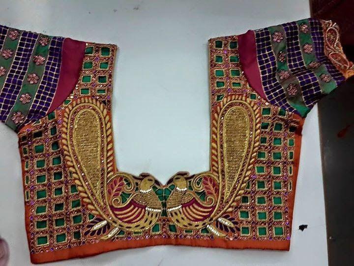 Heavy cutwork blouse with peacocks   Elegant Fashion Wear