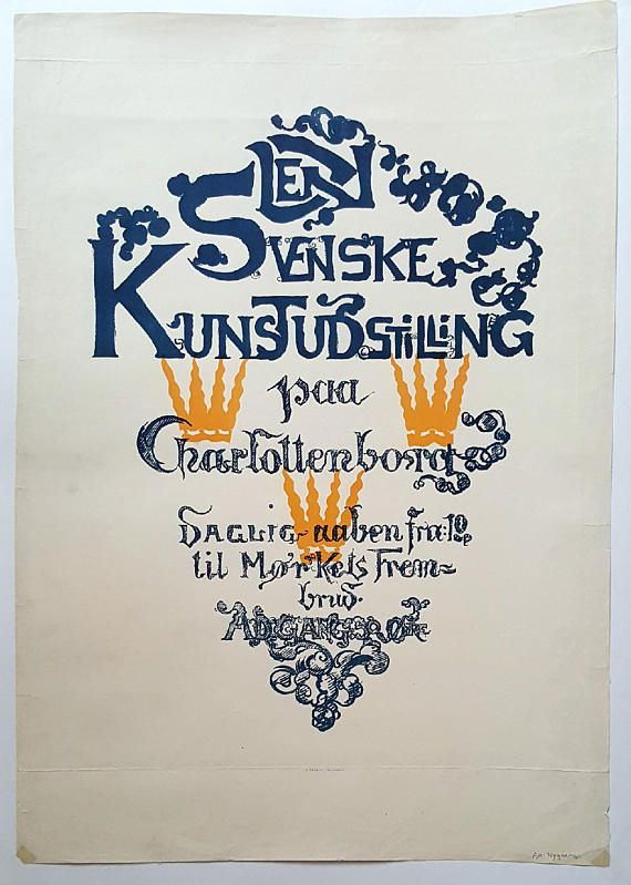 1930s Danish-Swedish Art Exhibition Poster Charlottenborg