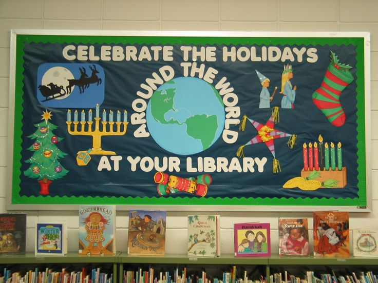 """Celebrate the Holidays Around the World At Your Library.""  Bulletin board created by Michelle Kreitzer, Youth Services Clerk at GCS Library."