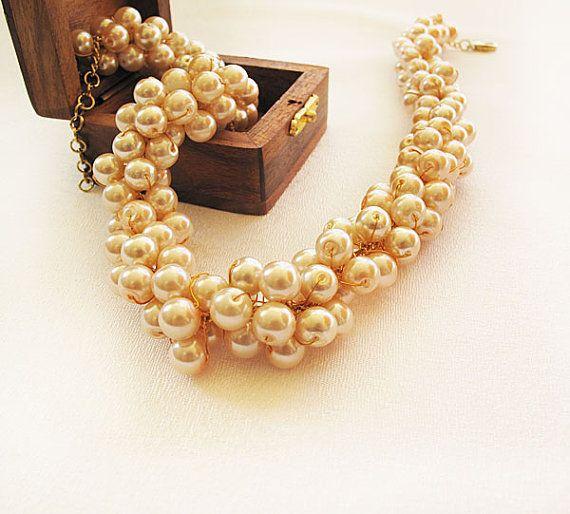 Chunky Pearl Necklace Pink Pearl Jewelry Bib  Statement by ADbrdal, $59.00