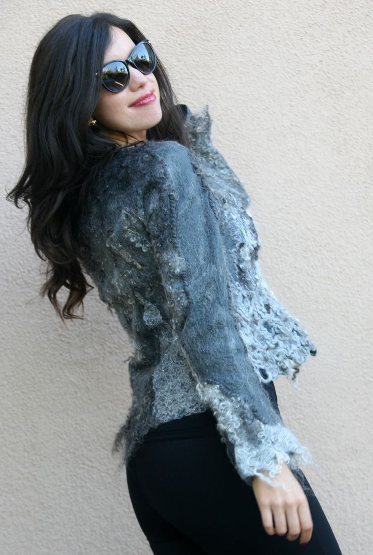 Nuno felted eco fashion fur silver grey jacket woman handmade unique cardigan wool women short warm light jacket OOAK wearable art to wear