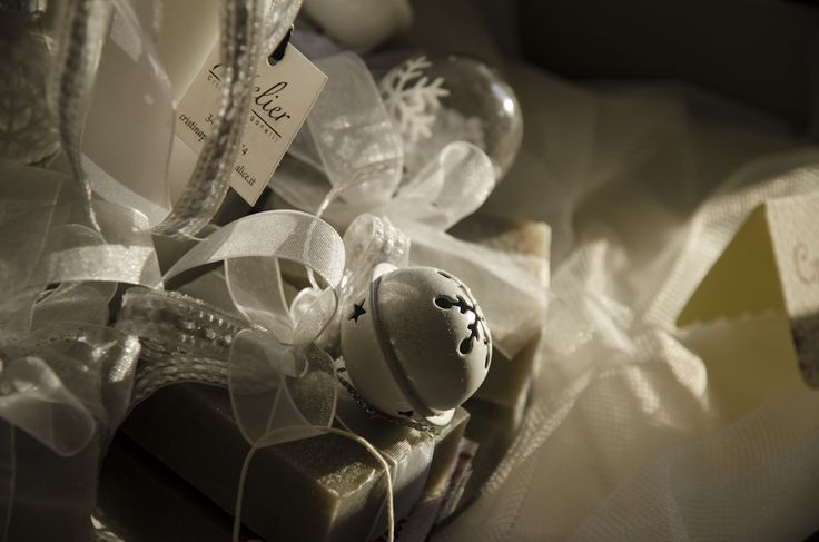 GREY SOAP WITH RIBBON AND CHRISTMAS DECORATIONS