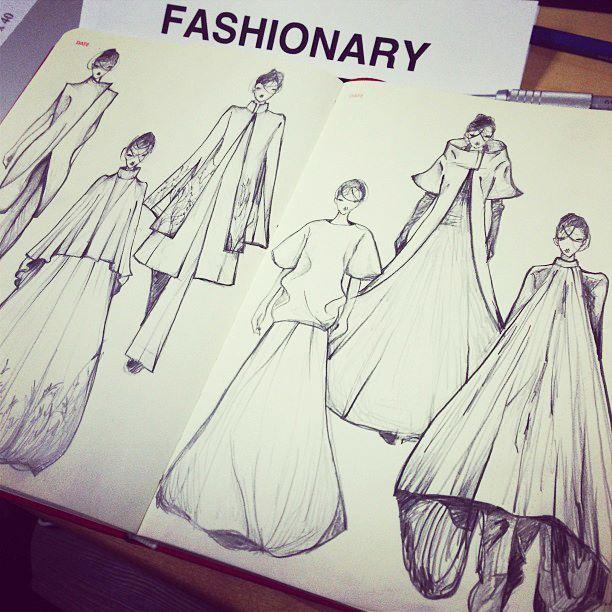 Sketching for Gareth Pugh AW 13 on Fashionary A5 Womens Sketchbook by Vikki Yau