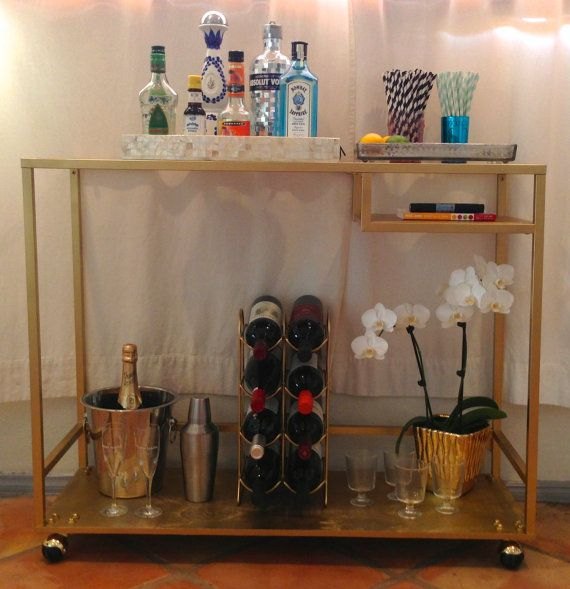 Rolling bar cart in brass gold local delivery only for Ikea wine bar