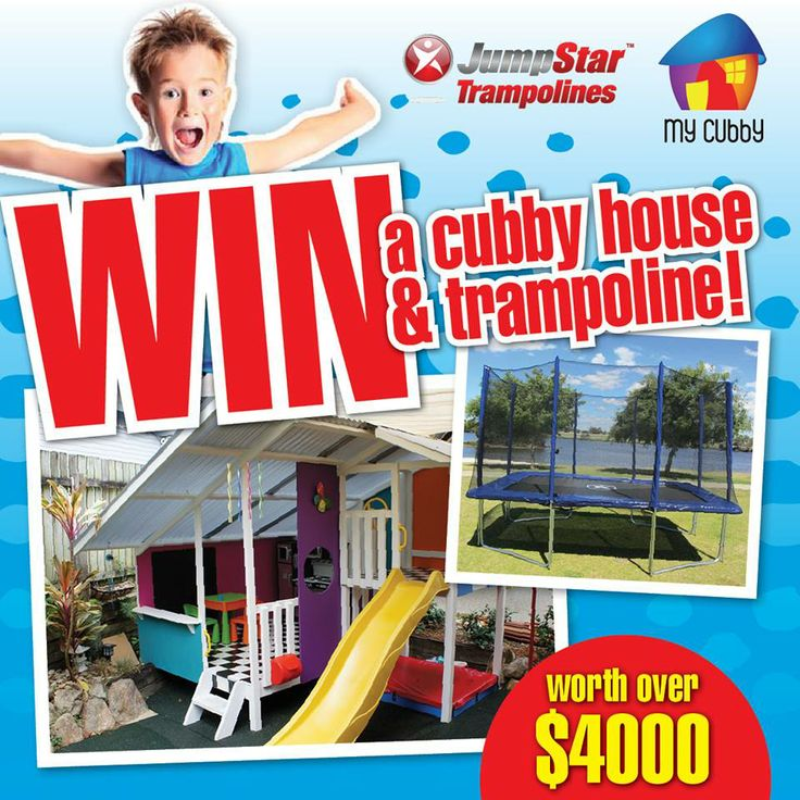 WIN the ultimate kid friendly backyard makeover! A brand new cubby house and trampoline worth over $4000! Australia wide entry. Click here to enter now - http://www.jumpstartrampolines.com.au/win-ezp-13.html