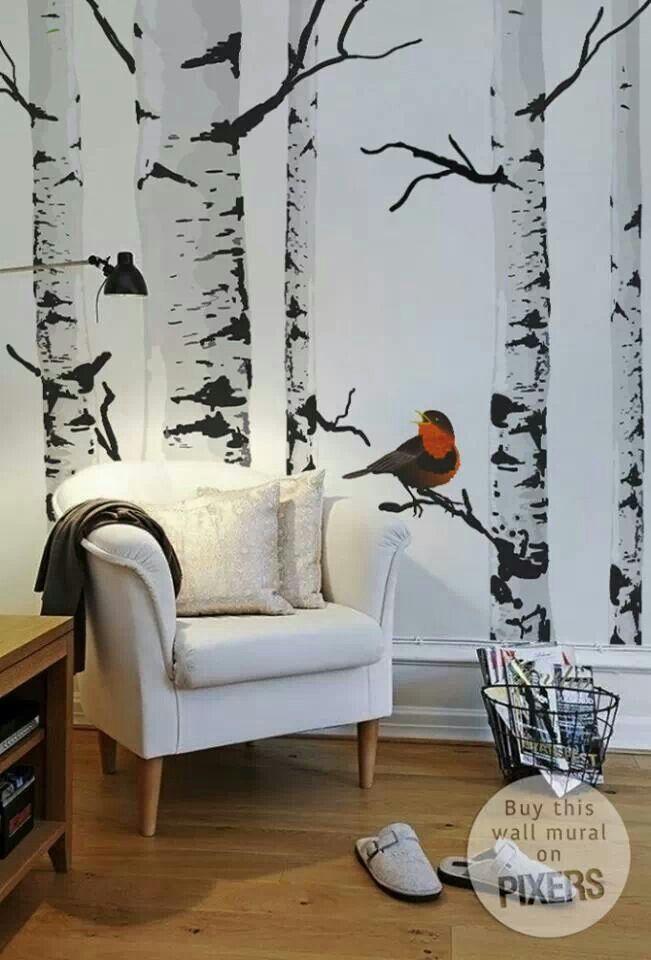 wandtapete mit birke gibt es eigentlich einen hipperen baum wand streichen ideen w nde. Black Bedroom Furniture Sets. Home Design Ideas