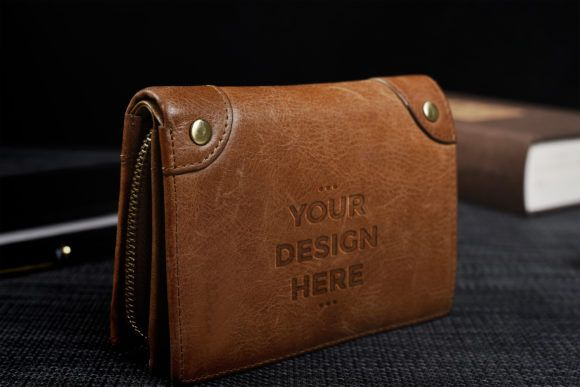 Brown Wallet Mockups Template Graphic By Suedanstock Creative Fabrica Brown Leather Wallet Brown Wallet Mockup Template