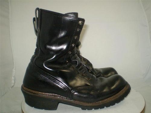 VINTAGE RED WING LOGGER BOOTS Black Leather Vibram Lug Sole USA Mens 11