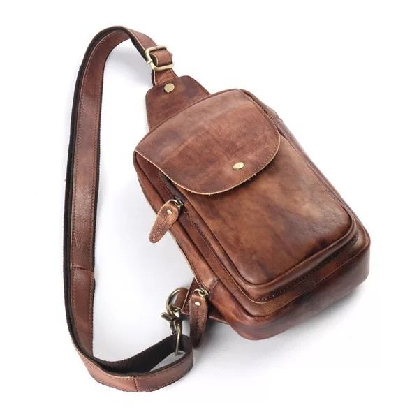 f1f6172f9 Vintage Designer Genuine Leather Zipper Closure Men/'s Flap Pocket Chest Bag  Real Cowskin Male Crossbody Bag Retro Messenger Bag