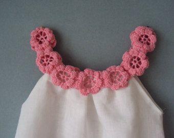 Linen organic flower dress / tunic crochet / sew for the