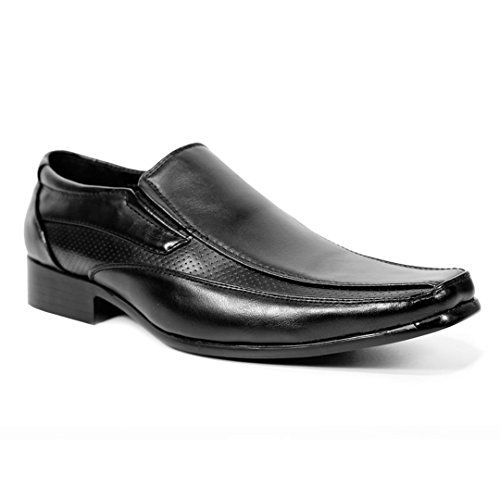 MENS FORMAL SHOES FAUX LEATHER SMART DRESS WEDDING BLACK TAN OFFICE BUSINESS WORK EVENING PARTY CASUAL ITALIAN SLIP ON MOCCASINS TWIN GUSSET LIGHTWEIGHT BOOTS LOAFERS Black8 UK - [UK & IRELAND]