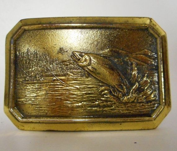 Vintage Trout Fish Fly Fishing 1977 Belt by honeyblossomstudio