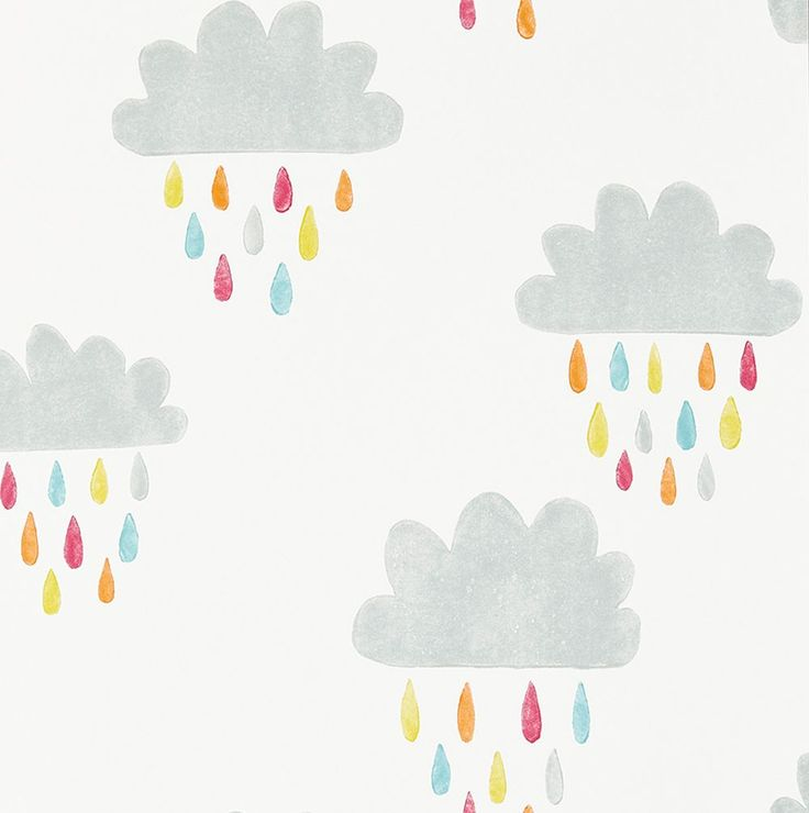 Grey and white kids' cloud wallpaper April Showers Citrus, Lagoon and Poppy wallpaper by Scion