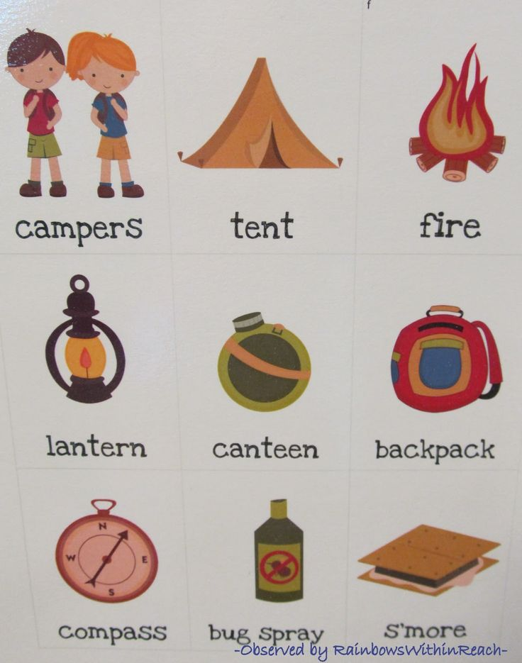 Camping Vocabulary Words for Writing Center