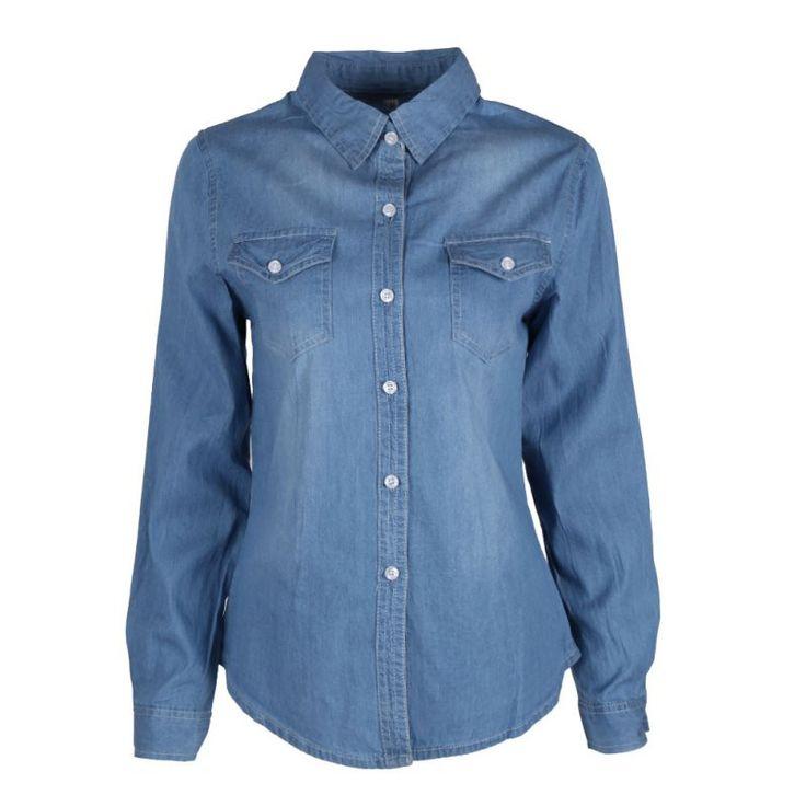 Spring New Fashion Women Jean Shirts Women's Denim Shirts High-End Washing Long-Sleeved Denim Shirt