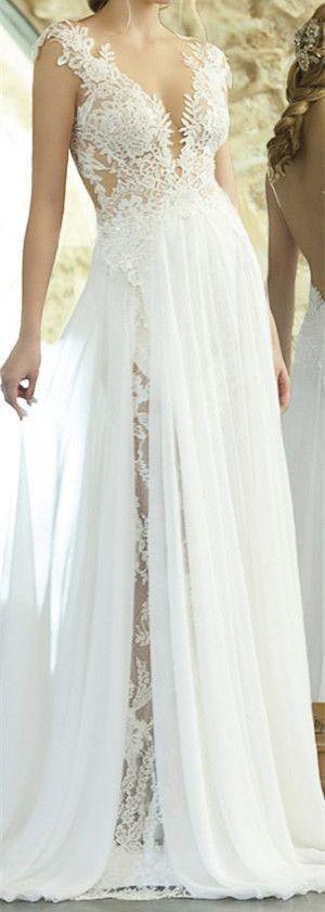 Sexy Sheath Wedding Dress Lace Bodice Illusion Open Back Ethereal Sheer Wedding Dresses