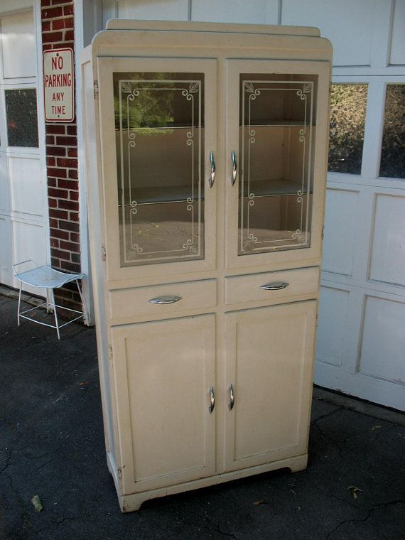 Vintage Kitchen Cupboard Cabinet Glass Doors With Stenciling Pick Up Only In 2020 Cupboard Makeover Vintage Cabinets Kitchen Cupboards