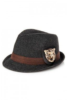 Kışlık Fötr Şapka, Gri-Siyah, Yün, Kaplan Aksesuarlı | Hepsi Ev Yapımı