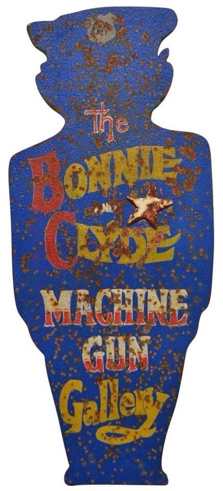 Vintage Folk Art Carnival Bonnie & Clyde Shooting Gallery Target