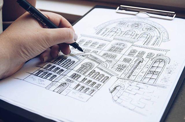 By Elin Östberg Total mashup of #Riksarkivet in #Stockholm  #sketch #sketching #sketchbook #art #artwork #print #doodle #doodling #architecture #sweden #målning #rita #teckning #teckna #måla #illustrate #illustrator #architecture #stockholm_insta