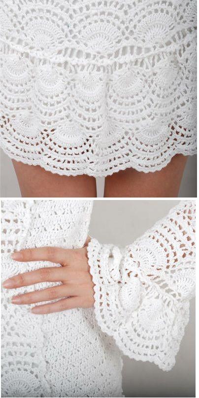 Patrones Crochet: Vestido Blanco Medios Circulos Patron | crochet ...