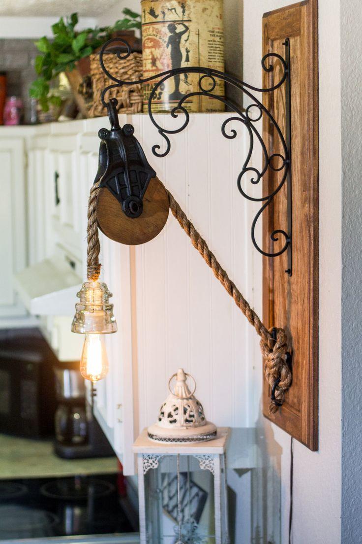 Lumière de corde Edison Grange poulie avec par TheReclaimedLight