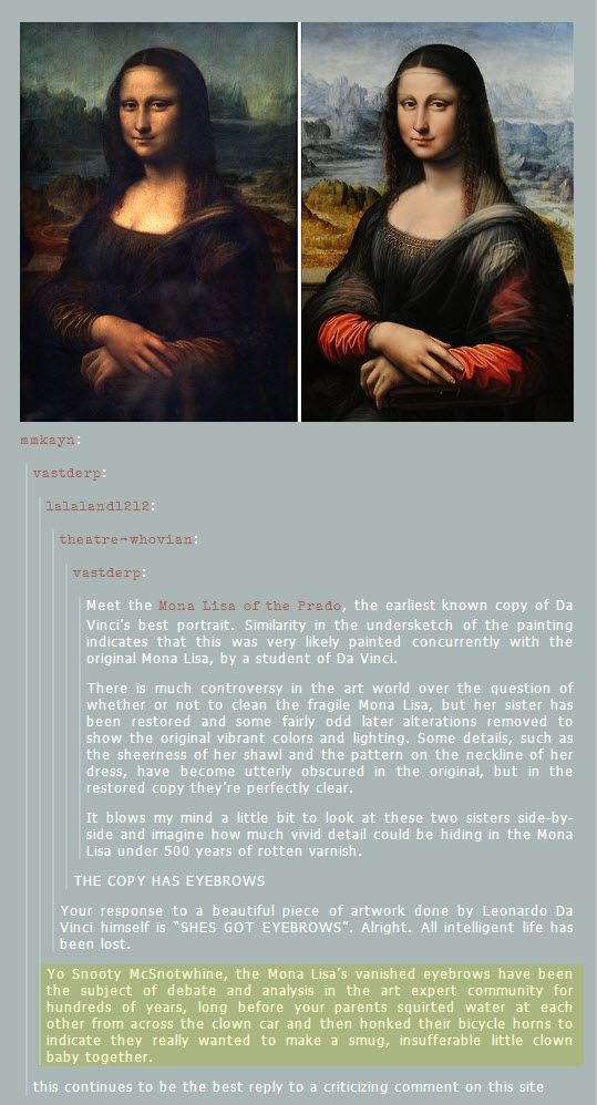 Mona Lisa comparison and awesome burn comment to troll